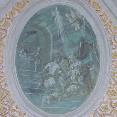 Kindheitslegenden des hl. Nikolaus, Säugling steht in der Badewanne