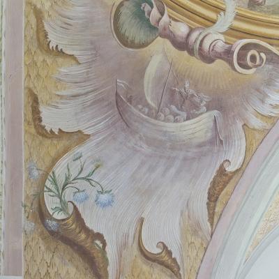 Der Heilige und der Steuermann eines Segelschiffes mit Säcken beladen