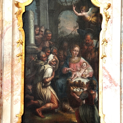St. Georgen Seitenaltar rechts Anbetung der Hirten