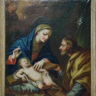 Hl. Familie mit dem auf einem Kreuz schlafenden Kind